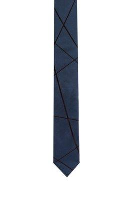Cravate en soie à motif jacquard géométrique, Bleu foncé