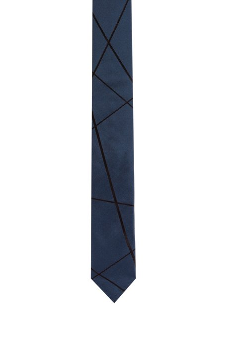 Silk tie with jacquard-woven geometric pattern, Dark Blue