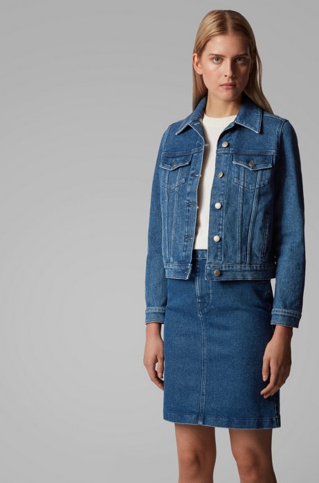 Regular-fit jacket in stretch denim with rear logo, Dark Blue