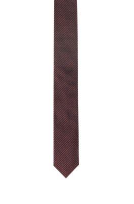 Stropdas in een jacquard van zijde met fijne diagonale strepen, lichtrood