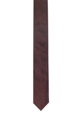 Silk-jacquard tie with fine diagonal stripes, Light Red