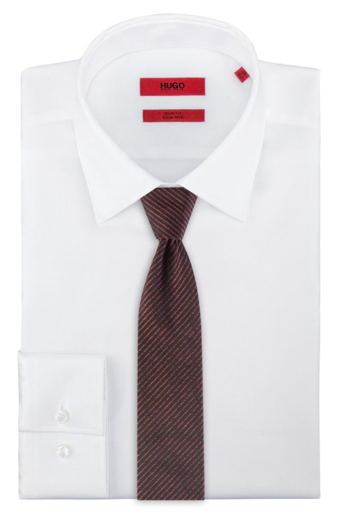 Silk-jacquard tie with fine diagonal stripes