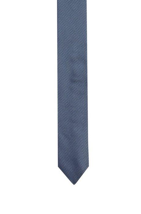 Cravate en jacquard de soie à micromotif triangle, Bleu vif