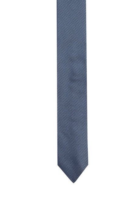 Krawatte aus Seiden-Jacquard mit filigranem Dreiecksmuster, Hellblau