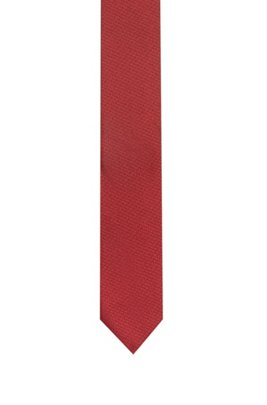 Silk tie in micro-triangle-patterned jacquard, Light Red