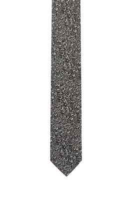 Zijden stropdas in jacquard met abstract dessin, Zwart