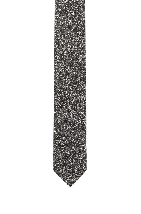 Silk tie with abstract jacquard pattern, Black