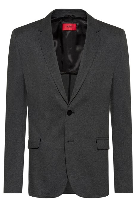 Slim-fit jacket in melange stretch fabric, Anthracite