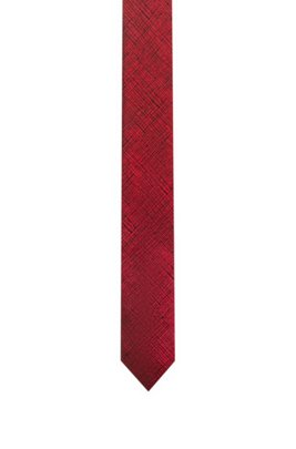 Silk-jacquard tie with abstract check, light pink