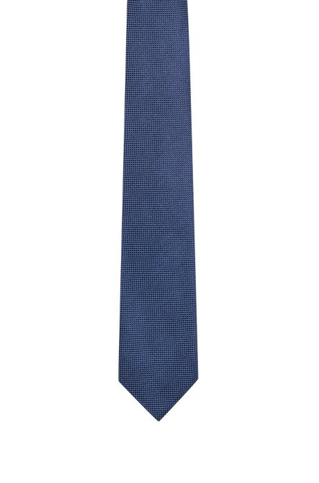 Micro-patterned tie in silk jacquard, Light Blue