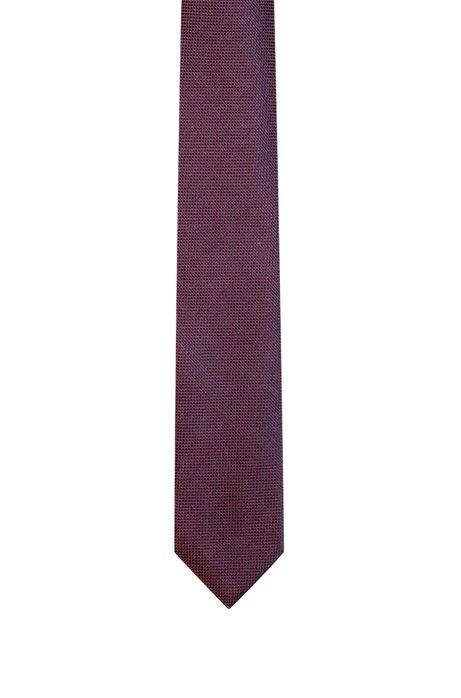 Fein gemusterte Krawatte aus Seiden-Jacquard, Hellrot