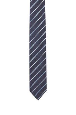 Cravate en jacquard de soie à rayures en diagonale, Bleu foncé
