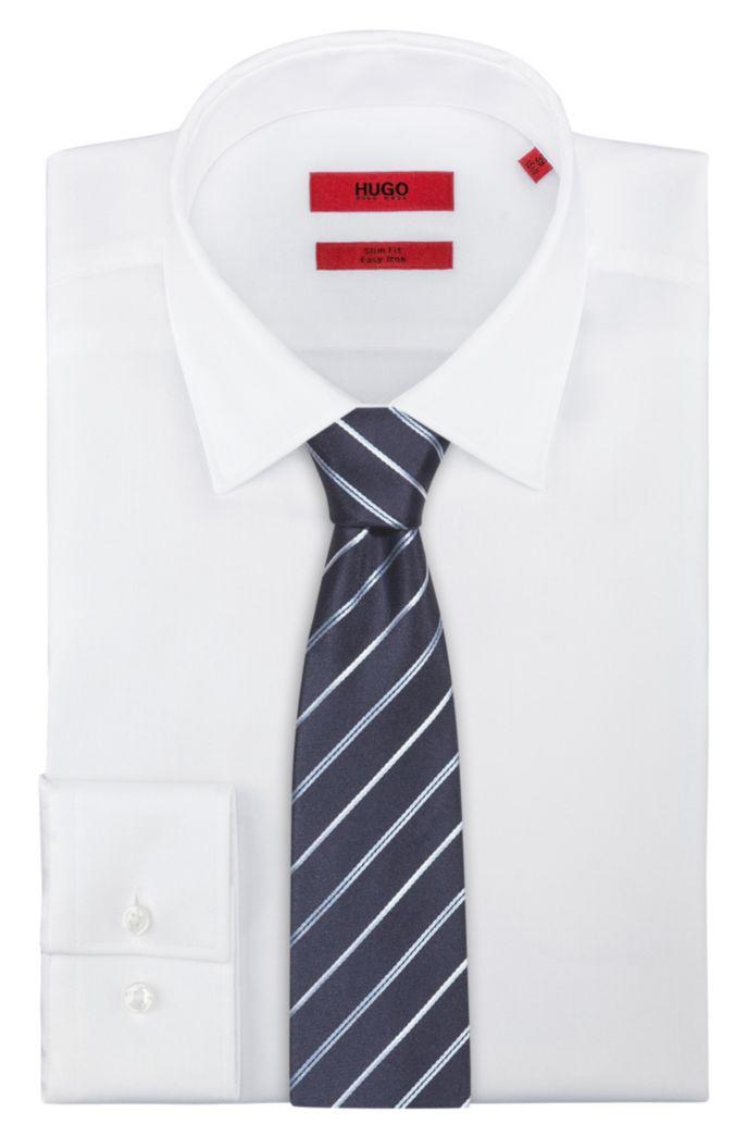 Silk-jacquard tie with diagonal stripes