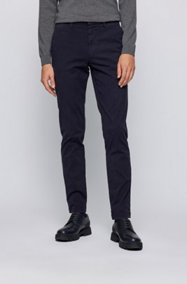 Pantalon Tapered Fit en gabardine de coton stretch, Bleu foncé