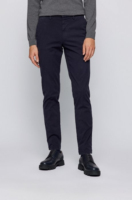 Tapered-fit trousers in stretch-cotton gabardine, Dark Blue