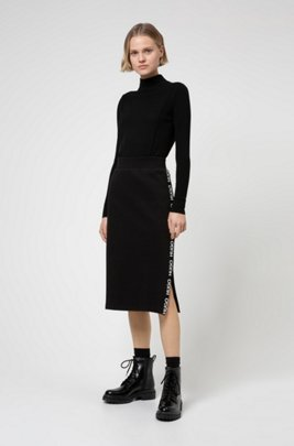 Slim-fit skirt in French terry with logo tape, Black