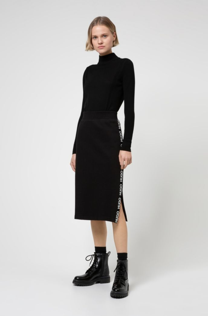 Slim-fit skirt in French terry with logo tape