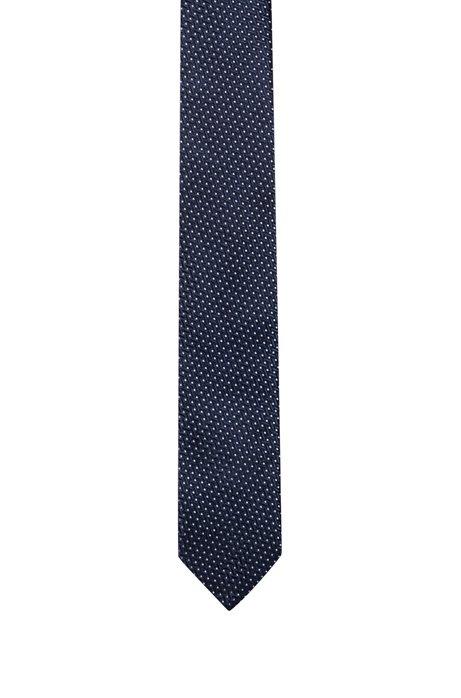 Silk-jacquard tie with micro-dot pattern, Dark Blue