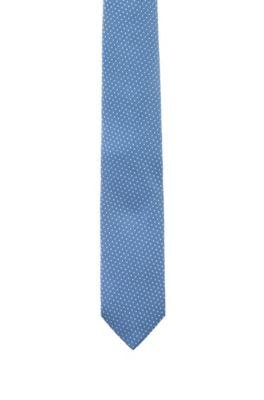 Silk-jacquard tie with micro-dot pattern, Light Blue