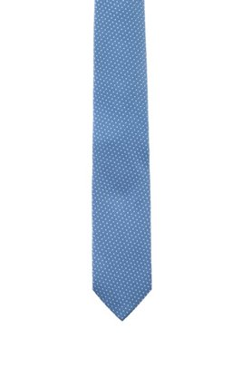 Silk-jacquard tie with micro-dot pattern, Light Blue