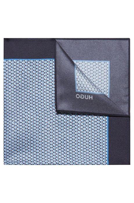 Geometric-print pocket square in silk twill, Light Blue