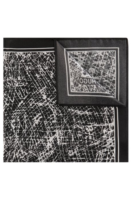 Abstract-print pocket square in silk twill, Black