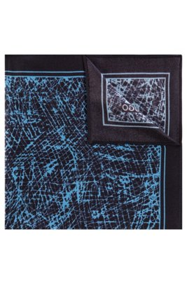 Abstract-print pocket square in silk twill, Light Blue
