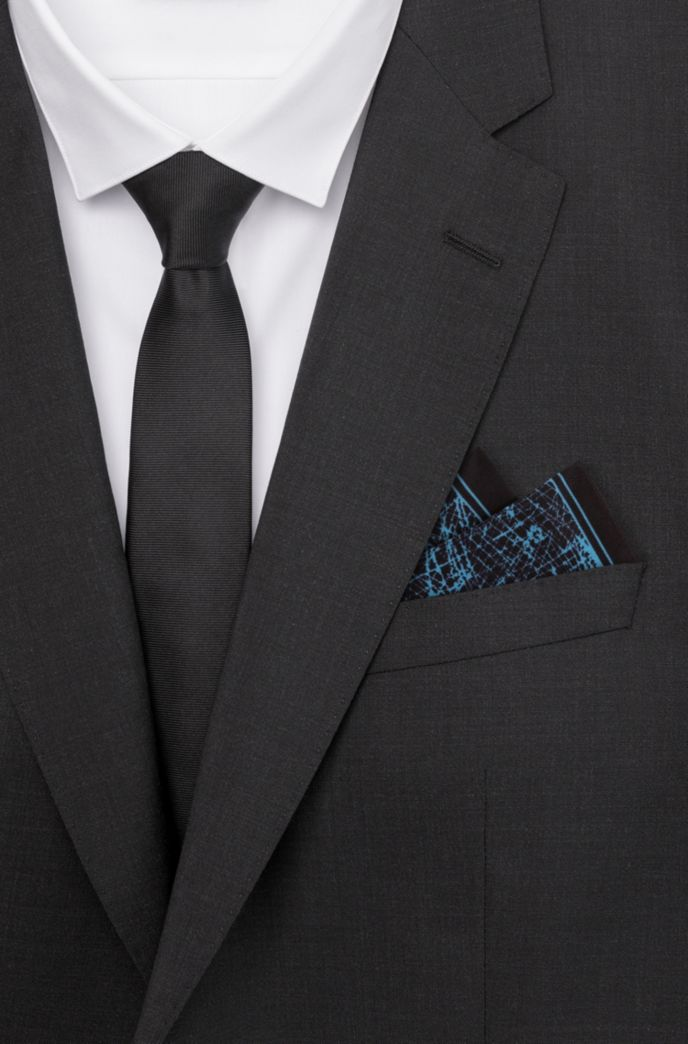 Abstract-print pocket square in silk twill