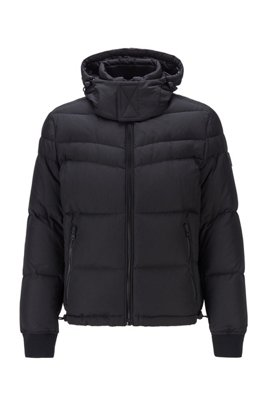 Water-repellent down jacket with removable hood, Black