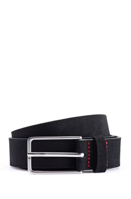 Suede belt with matte silver-tone buckle, Black