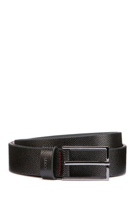 Cintura in pelle lavorata con logo in metallo, Nero