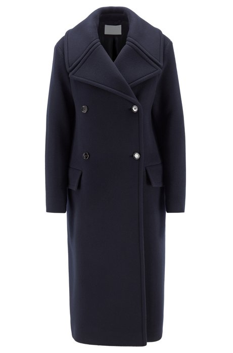 Relaxed-fit coat in virgin wool and cashmere, Blue