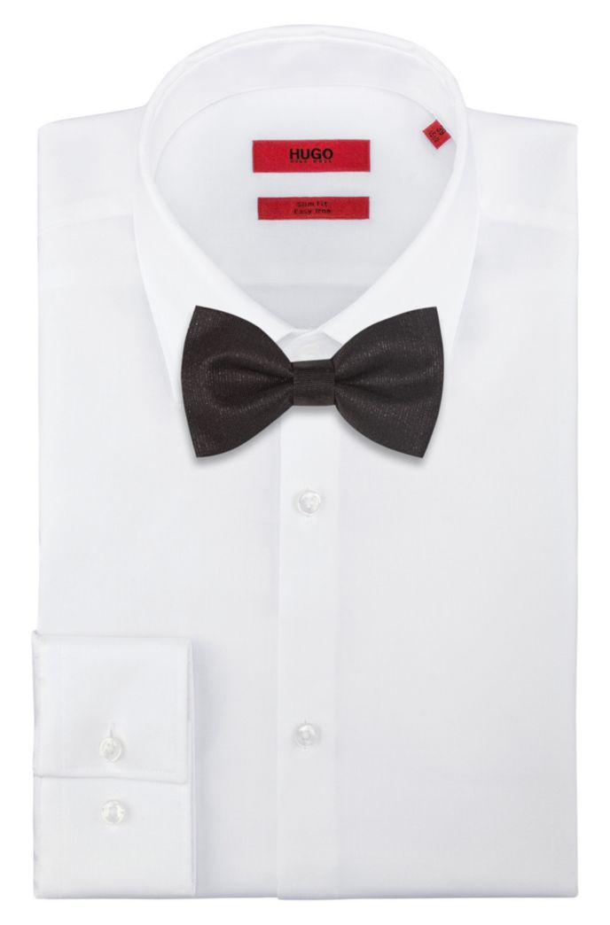 Silk-blend bow tie with metallic yarn
