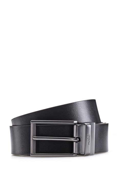 Reversible-leather belt with pin and plaque buckles, Black
