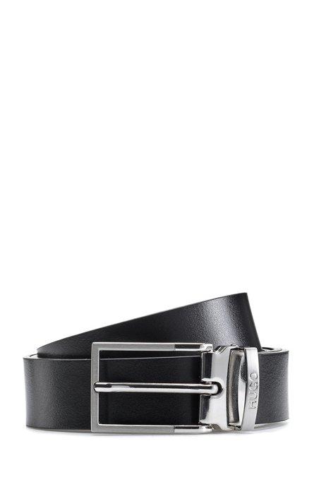 Wendegürtel aus italienischem Leder mit Dorn-und Koppelschließe, Schwarz