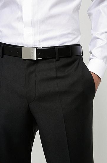 针扣加牌扣双面意大利皮革腰带,  001_Black