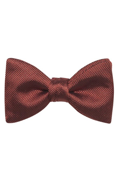 Bow tie in pure silk with jacquard-woven structure, Light Red