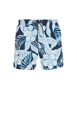 Quick-dry swim shorts with palm-leaf print, Dark Blue