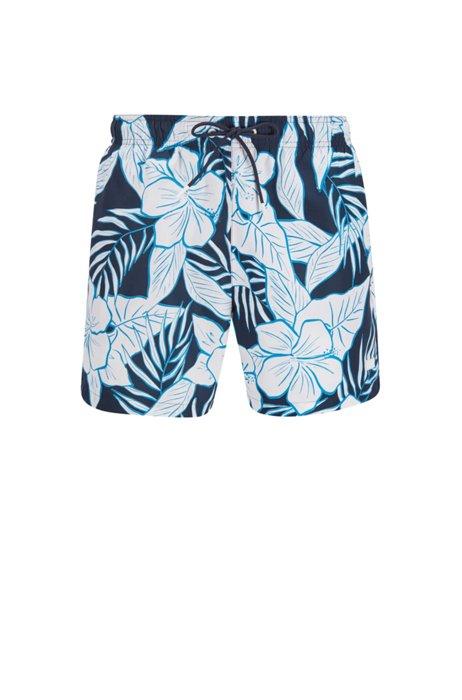 Quick-dry swim shorts with palm-leaf print, Dark Blue