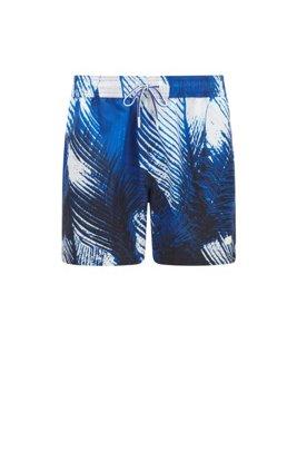 Schnell trocknende Badeshorts mit Palmenblatt-Print, Blau