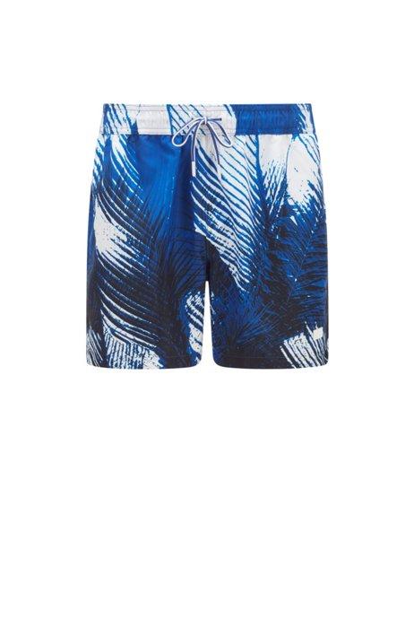 Quick-dry swim shorts with palm-leaf print, Blue