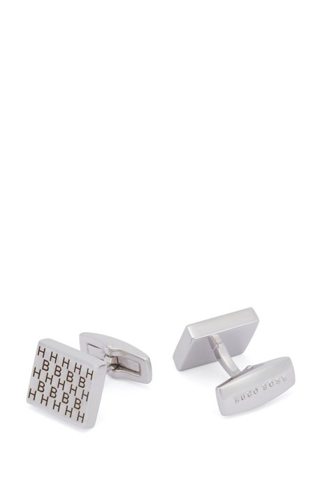 Vierkante manchetknopen van messing met geëtste monogrammen, Zilver