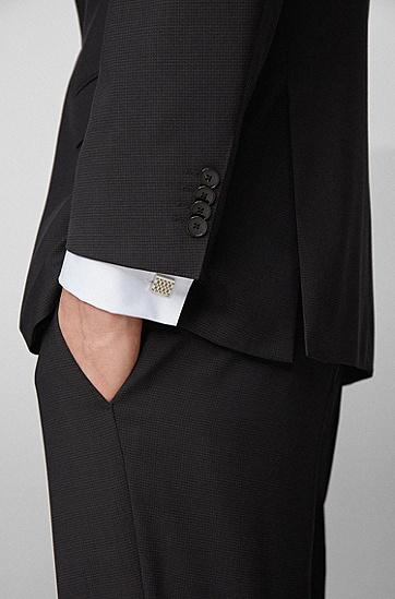 男士蚀刻交织字母图案黄铜方形袖扣,  040_银灰色