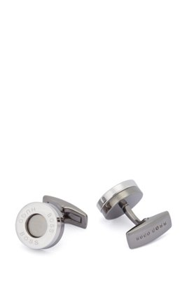 Round brass cufflinks with ring logo, Silver