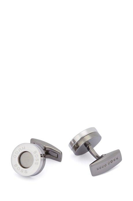 Round brass cufflinks with ring logo, Silver