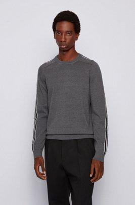 Pullover aus Baumwolle mit Schurwolle und Streifen-Details, Grau