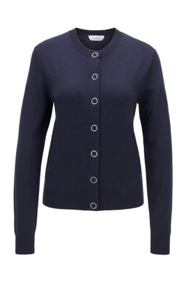 Crew-neck knitted cardigan in virgin wool, Dark Blue