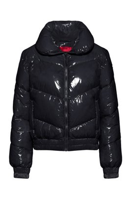 Glossy quilted jacket with recycled padding, Black