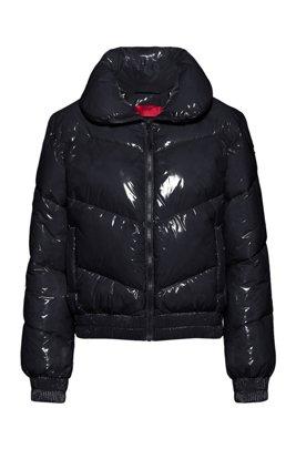 グロッシーキルティング ジャケット リサイクルパディング, ブラック