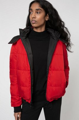 Short-length reversible jacket with contrast hood, Black